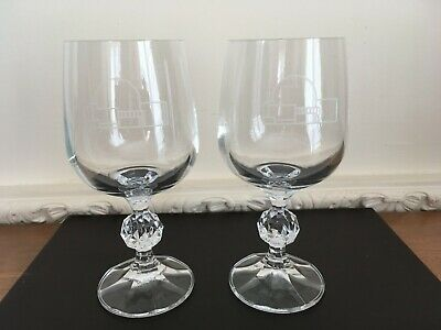 Pair Of Cut Glass Wine Glasses - Etched Building