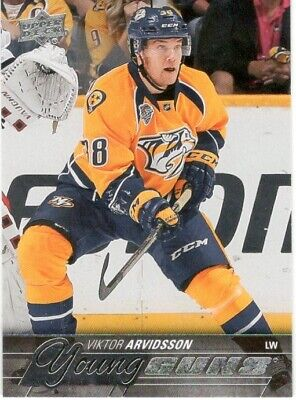 2015-16 Ud Upper Deck Series 1 Viktor Arvidsson Young Guns Rc Rookie #222