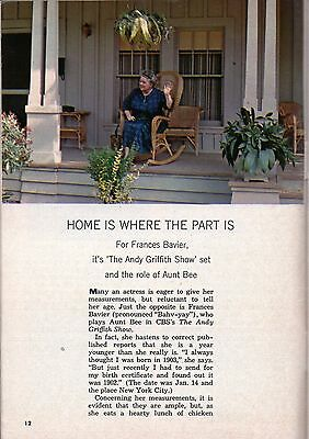 1964 TV ARTICLE~FRANCES BAVIER is AUNT BEE on THE ANDY GRIFFITH SHOW~ON SET