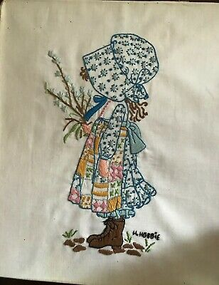 """Vintage, Shabby Hand-Embroidered and Stitched HOLLY HOBBIE """"TIME TO BE HAPPY"""""""