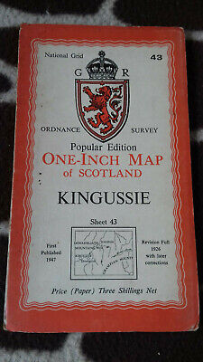 Vintage Ordnance Survey One Inch Map 43 KINGUSSIE Dated 1947 On Paper