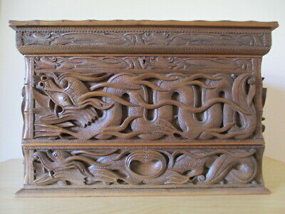 Carved Wooden Chinese Dragon Box - (Very Game of Thrones)