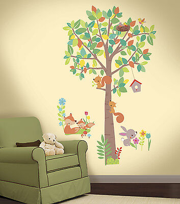 Woodland Creatures Tree Giant Wall Decals  Forest Animals Stickers Nursery Decor