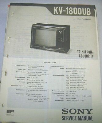 KV-1800UB SONY SERVICE Manual Circuit Diagram Television TV