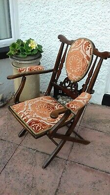 Antique Mahogany Campaign Chair