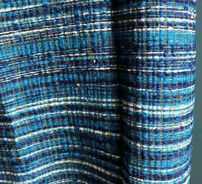 Vintage 1960s Turquoise Blue Nubby Tweed Upholstery Fabric Lenor Larsen Style