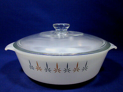 Fire King Candle Glow Casserole Dish Lid 1 1/2 Qt Anchor Hocking Ovenware Baking