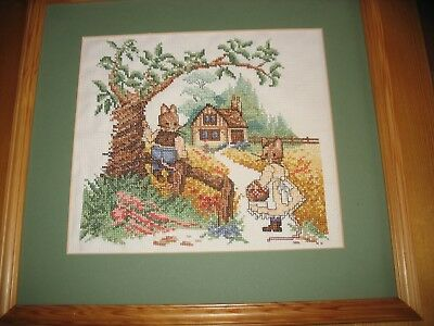 Cute Mouse in the Countryside Cross Stitch Picture in Wooden Pine Frame NO glass