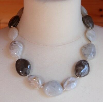 Beautiful Vintage Cloud Marbled Grey Lucite Stone Bead Necklace