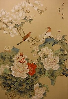 "DA88-59 Magnolia prunus peonies birds - Chinese painting on silk 30""x20"""