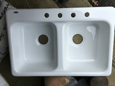 Brand Spanking New Cast Iron Enameled Double Deep Kitchen Sink American Standard