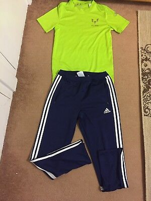 Adidas Climalite Joggers Tracksuit Bottoms Pants and Shirt MESSI  size 12 years