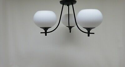 Antique Vintage Semi Flush Ceiling 3 Bulb Light Mid Century