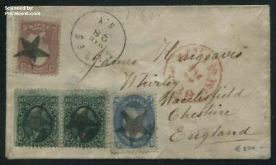 United States of America 1864 Letter to Macclesfield England suss!864a