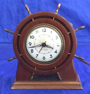 Vintage Seth Thomas Electric Capstan Ship Wheel Nautical Clock Mantle Usa Works