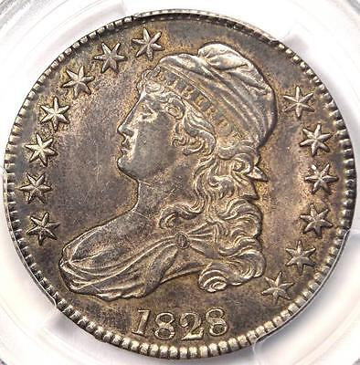 1828 Capped Bust Half Dollar 50C - PCGS AU53 - Sq Base 2, Small 8, Large Letters