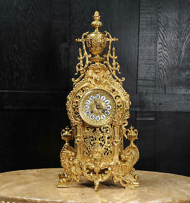Large Antique French GIlt Bronze Baroque Clock
