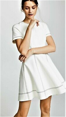 2e230b915e3 cinq a sept Bryce Short Sleeve Fit and Flare Mini Dress In Ivory Size 0 New
