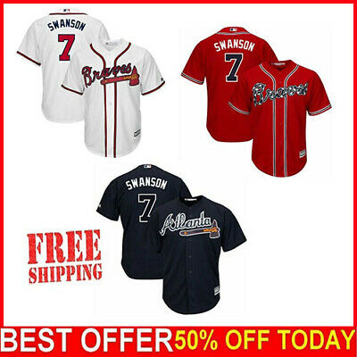 72e49a57 Atlanta Braves Cool Base Jersey #7 Dansby Swanson Stitched Jersey Free  Shipping