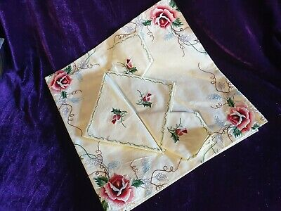 Vintage Embroidered Table Cloth And Serviettes High Tea Party