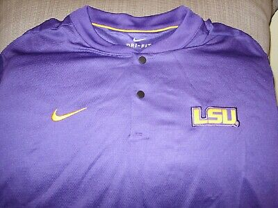 1a6171cd7 LSU Tigers NIKE Dri Fit Elite Coaches Purple Blade Polo Golf Shirt Men s  Large
