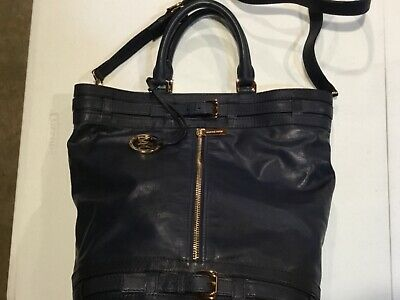 51c2b767bfe1 Michael Kors Kingsbury Navy Blue Large Leather Satchel Tote Handbag Nwot