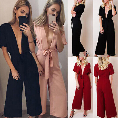 Women Sexy Party Simple Elegant Belted Wide Leg Pants Trousers Plunge Jumpsuit