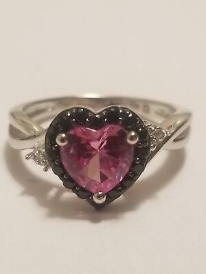 7f6267d95 Pink Sapphire And Black Diamond Ring 925 Sterling Silver Kay Jewelers Size 7