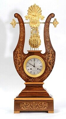 Rosewood and Ormolu Lyre Antique French Clock with Mystery Pendulum Henri Marc