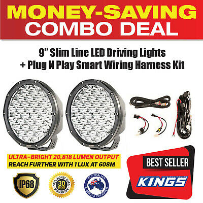 "9"" Slim Line LED Driving Lights + Plug N Play Smart Wiring Harness Kit"