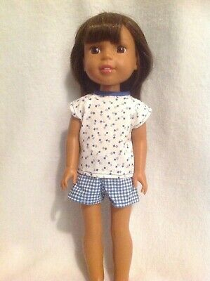 """Wellie Wishers Blue summer shirt shorts set American Girl doll clothes 14"""" fit"""