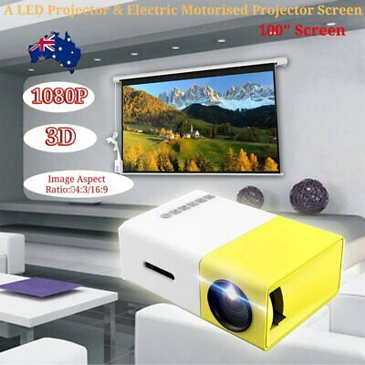 100 inch 3D Electric TV Projector Screen Portable w/ 600 LM Mini LED Projector