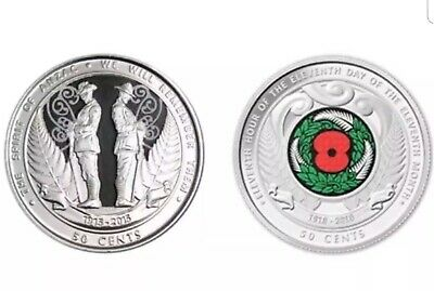 2018 & 2015 NZ Anzac Colourised 50c Coins Unc. 1 Of Each Supplied In 2x2 Flip