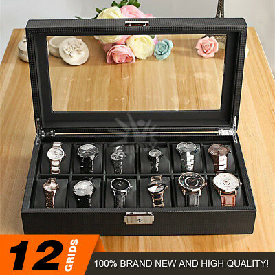 12 Grids Carbon Fiber Watch Gift Box Storage Case Jewelry Display Organizer AU#