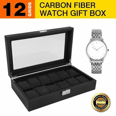 12 Grids Carbon Fiber Watch Gift Box Storage Case Jewelry Display Organizer 100%
