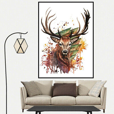 Watercolor Deer Canvas Painting Art Poster Picture Wall Home Bedroom Decor Gift