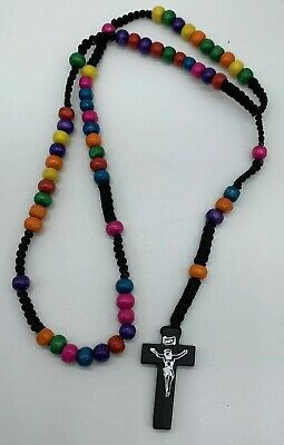 Rainbow Rope Wooden Beads Religious Necklace Rosary Black Jesus On Cross