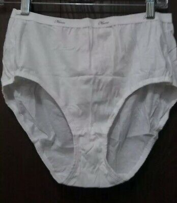 Women High Rise Brief Full Coverage Panties Size 8 / XL, Hip Inches 42-43, White