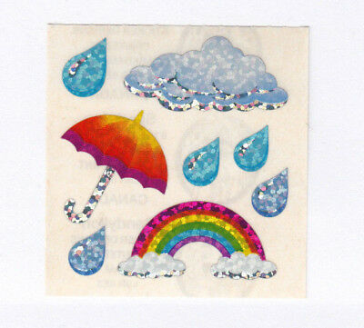 Vintage Sandylion Glitter Rainbow Umbrella Sticker Mod - 80's Storm Rain Cloud