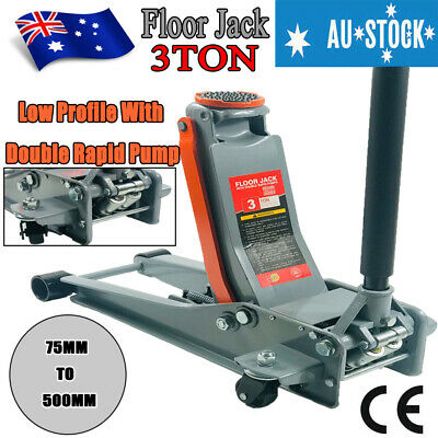 3 Ton Trolley Hydraulic Floor Jack Low Profile Car Quick Lifting 135-460mm Red