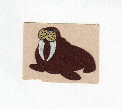 Rare Vintage Personal Expressions Fuzzy Embossed Walrus Sticker on Brown Backing