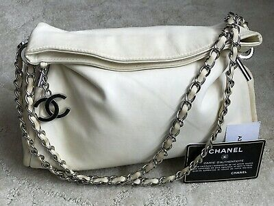 db250047ad9c Auth CHANEL Ivory Lambskin CC Charm Chain Small Ultimate Soft Shoulder Tote  Bag