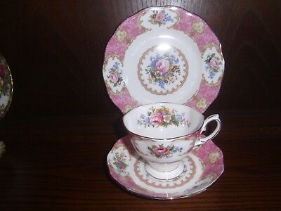 Royal Albert Lady Carlyle Tea cup Saucer & side plate Trio vgc Parkinsons UK