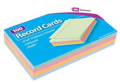 Record Cards Revision/Flash/Feint Ruled Colored for school/office 100 Cards 6x4