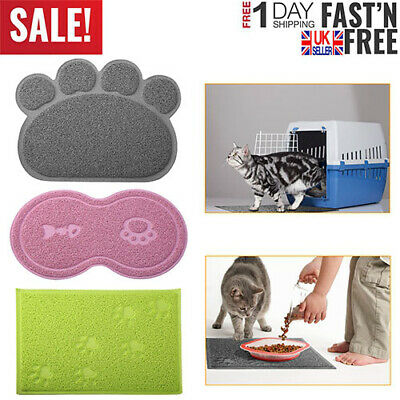 Dog Pet Feeding Water Food Dish Tray Wipe Clean Paw Floor Placemat Cat Bowl Mat