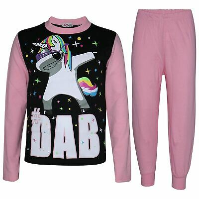 Kids Girls Dabbing Unicorn #Dab Baby Pink Floss Pyjamas Loungewear Nightwear Pjs