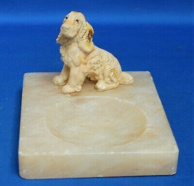 An antique spaniel dog figure Victorian cold painted cast metal pin dish