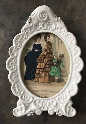 Old Vintage French Fashion Illustration Engraving In Ornate Ceramic Frame