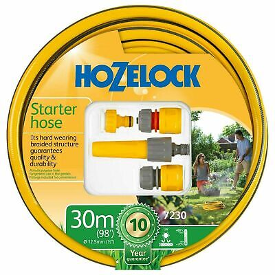 Hozelock 30m Starter Garden Hose Pipe Maxi Plus 12.5mm with Fittings & Nozzle
