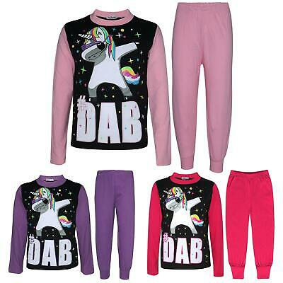 Kids Girls Pyjamas Dabbing Unicorn #Dab Floss Lounge Wear Nightwear PJS 5-13 Yrs